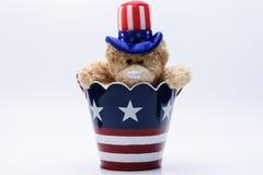 USA patriotic bear in flag bucket Royalty Free Stock Image
