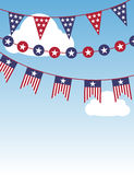 USA patriotic buntings in the sky Royalty Free Stock Image