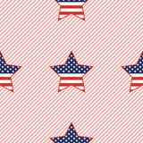 USA patriotic stars seamless pattern on red. USA patriotic stars seamless pattern on red stripes background. American patriotic wallpaper with USA patriotic stock illustration