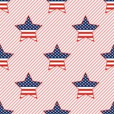 USA patriotic stars seamless pattern on red. USA patriotic stars seamless pattern on red stripes background. American patriotic wallpaper with USA patriotic Vector Illustration