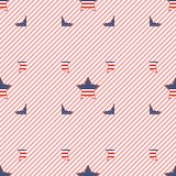 USA patriotic stars seamless pattern on red. USA patriotic stars seamless pattern on red stripes background. American patriotic wallpaper. Tillable pattern Royalty Free Illustration