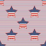 USA patriotic stars seamless pattern on red and. USA patriotic stars seamless pattern on red and blue diagonal stripes background. American patriotic wallpaper Stock Image