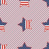 USA patriotic stars seamless pattern on red and. USA patriotic stars seamless pattern on red and blue stripes background. American patriotic wallpaper Stock Photos