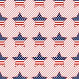 USA patriotic stars seamless pattern on red. USA patriotic stars seamless pattern on red stripes background. American patriotic wallpaper with USA patriotic Stock Photography