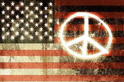 USA Peace Sign. USA Flag with the Peace Sign Sprayed on it. Cool Dirty Design stock photo