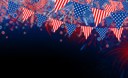 USA pennant with fireworks design on black background. With copy space Stock Photo