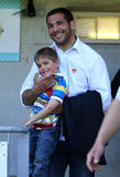 USA Perpignan's Farid Sid and his son Stock Image
