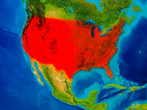USA on physical map Royalty Free Stock Photo