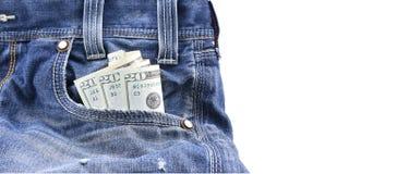USA pieniądze w Błękitnych Drelichowych cajgach lub dolary Wkładać do kieszeni, pojęcie na przychodu pieniądze, oszczędzanie pien Obrazy Royalty Free