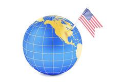 USA pin flag on globe map Royalty Free Stock Images