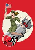 USA pin up girl ride a nuclear bomb royalty free illustration