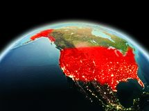USA on planet Earth in space Royalty Free Stock Photos