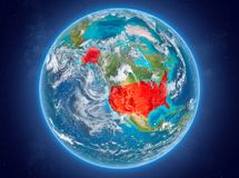USA on planet Earth in space. USA in red on model of planet Earth with clouds and atmosphere in space. 3D illustration. Elements of this image furnished by NASA royalty free stock images