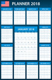 USA Planner blank for 2018. Scheduler, agenda or diary template. Week starts on Sunday. Royalty Free Stock Photos