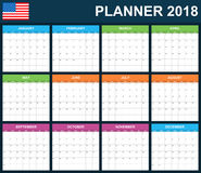 USA Planner blank for 2018. Scheduler, agenda or diary template. Week starts on Sunday. Stock Photography