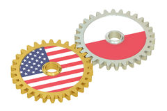 USA and Poland flags on a gears, 3D rendering Stock Images