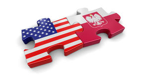 USA and Poland puzzle from flags Stock Photography