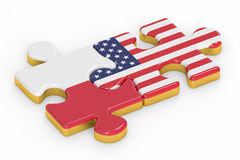 USA and Poland puzzles from flags, relation concept. 3D renderin Stock Image