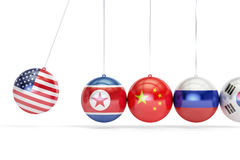 USA political conflict with North Korea, South Korea, Russia  Stock Photo