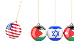 USA political conflict with Palestine, Israel and Jordan. Concept. 3D Stock Image