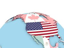 Flag of USA on bright globe. USA on political globe with embedded flags. 3D illustration Royalty Free Stock Image