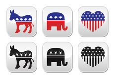 USA political parties button: democrats and repbublicans Stock Photo