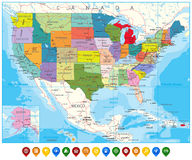 USA Political Road Map and map pointers Royalty Free Stock Images