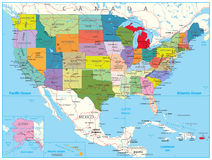 USA Political Road Map. With roads, water objects and cities Stock Photography