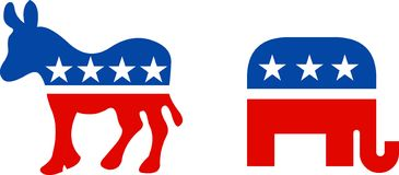 USA political symbols. Political symbol of republican elephant and democratic donkey Stock Photos