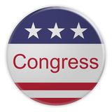 USA Politics News Badge: Congress Button With US Flag 3d illustration. USA Politics News Badge: Congress Button With US Flag, 3d illustration stock illustration