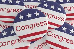 USA Politics News Badges: Pile of Congress Buttons With US Flag 3d illustration. USA Politics News Badges: Pile of Congress Buttons With US Flag, 3d illustration royalty free illustration