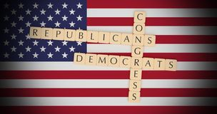 Letter Tiles Congress, Republicans And Democrats On US Flag 3d illustration. USA Politics News Concept: Letter Tiles Congress, Republicans And Democrats On US royalty free illustration