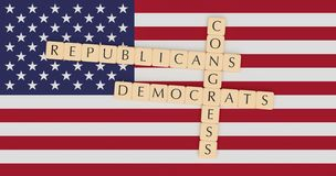 Letter Tiles Congress, Republicans And Democrats On US Flag 3d illustration. USA Politics News Concept: Letter Tiles Congress, Republicans And Democrats On US vector illustration