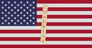 Letter Tiles Congress On US Flag, 3d illustration. USA Politics News Concept: Letter Tiles Congress On US Flag, 3d illustration royalty free illustration