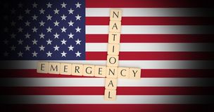 Letter Tiles National Emergency On US Flag, 3d illustration royalty free illustration