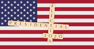 Letter Tiles Presidential Election 2020 With US Flag, 3d illustration royalty free illustration