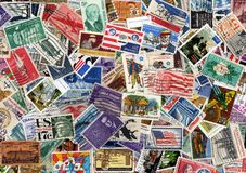 USA postage stamp collection Royalty Free Stock Photography