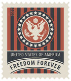 USA postage stamp with the eagle and words. Vector USA postage stamp with the eagle on the great seal of the United States in the colors of the American flag Royalty Free Stock Photo