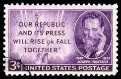 USA postage stamp portrait of  Joseph Pulitzer Stock Photo