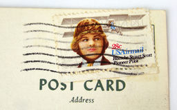 USA postage stamp on postcard Stock Images