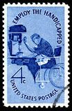 USA postage stamp showing Employ the Handicapped Royalty Free Stock Photo