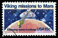 USA Postage Stamp Viking missions to Mars. London, UK, February 19 2018 - Vintage 1978 United States of America cancelled postage stamp showing  Viking missions Royalty Free Stock Photography