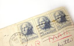 USA postage stamps on envelope Royalty Free Stock Images