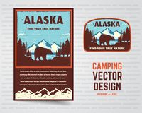 Free USA Poster And Badge. Alaska With Mountains, Bear And Forest Landscape. Vintage Flyer Design. Stock Vector Illustration Royalty Free Stock Image - 133435236