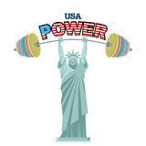 USA power. Powerful  Statue of Liberty barbell bench press. Athl Stock Photography