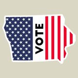 USA presidential election 2016 vote sticker. USA preential election 2016 vote sticker. Iowa state map outline with US flag. Vote sticker vector illustration Royalty Free Stock Photo