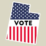 USA presidential election 2016 vote sticker. USA preential election 2016 vote sticker. Utah state map outline with US flag. Vote sticker vector illustration Royalty Free Stock Photos