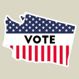 USA presidential election 2016 vote sticker. USA preential election 2016 vote sticker. Washington state map outline with US flag. Vote sticker vector Stock Images