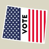USA presidential election 2016 vote sticker. USA preential election 2016 vote sticker. Wyoming state map outline with US flag. Vote sticker vector illustration Royalty Free Stock Photo