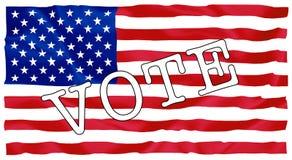 Usa president election. Sign vote on USA flag illustration Stock Photos